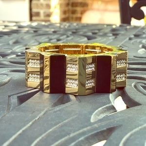 Ann Taylor Stretchy Gold & Black Bracelet